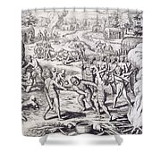 Battle Between Tuppin Tribes Shower Curtain