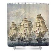 Battle Of Trafalgar Shower Curtain by Robert Dodd
