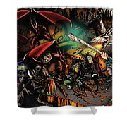 Battle With The Undead Dragon Shower Curtain