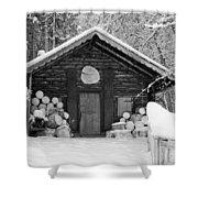 Bavarian Hut In Snow Shower Curtain