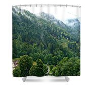 Bavarian Mountain Slope With Mist Shower Curtain
