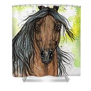 Bay Arabian Horse Watercolor Painting  Shower Curtain
