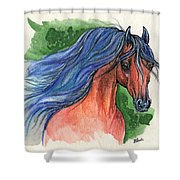 Bay Arabian Horse With Blue Mane 30 10 2013 Shower Curtain