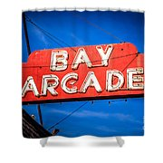 Bay Arcade Sign In Newport Beach Balboa Peninsula Shower Curtain
