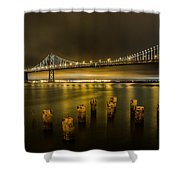 Bay Bridge And Clouds At Night Shower Curtain