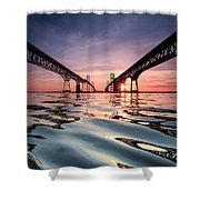 Bay Bridge Reflections Shower Curtain by Jennifer Casey