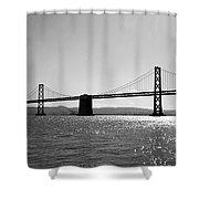 Bay Bridge Shower Curtain by Rona Black