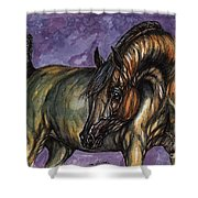 Bay Horse On The Purple Background Shower Curtain
