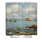 Bay Of Douarnenez Shower Curtain by Eugene Louis Boudin