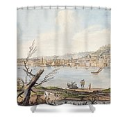Bay Of Naples From Sea Shore Shower Curtain