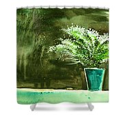 Bay Window Plant Shower Curtain
