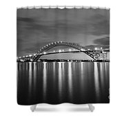 Bayonne Bridge In Black And White Shower Curtain