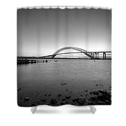 Bayonne Bridge Long Exposure Bw Shower Curtain
