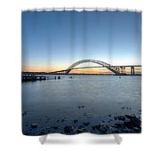 Bayonne Bridge Longe Exposure Sunset Shower Curtain