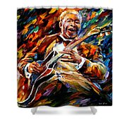Bb King - Palette Knife Oil Painting On Canvas By Leonid Afremov Shower Curtain