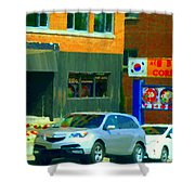 Bbq Coreen Korean Resto Cavendish St Jacques Montreal Summer Cafe City Scene Carole Spandau Shower Curtain