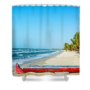 Beach And Red Canoe Shower Curtain