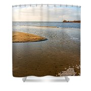 Beach And Rippled Water At The Wadden Sea. Shower Curtain