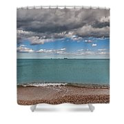 Beach And Ships. Shower Curtain