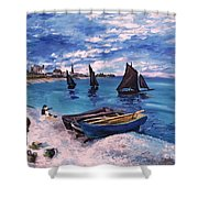 Beach At Sainte Adresse Monet Shower Curtain