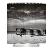 Beach Bench Shower Curtain