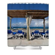 Beach Cabana With Lounge Chairs Shower Curtain