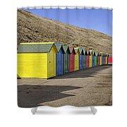 Beach Chalets - Whitby Shower Curtain