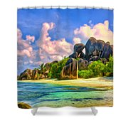 Beach Cove On La Digue Shower Curtain