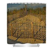 Beach Fence Shower Curtain by Susan Candelario