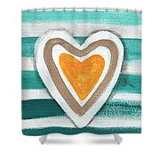 Beach Glass Hearts Shower Curtain
