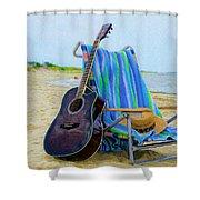 Beach Guitar Shower Curtain