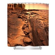 Beach House On Rocky Shore Shower Curtain