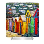 Beach Houses At Fish Hoek Shower Curtain