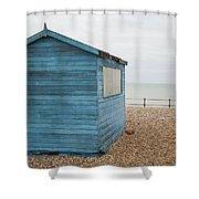 Beach Hut At Kingsdown Shower Curtain