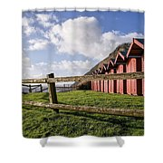 Beach Huts At Branscombe Shower Curtain
