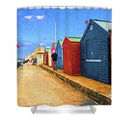 Beach Huts At Cromer Shower Curtain