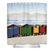Beach Huts At Muizenberg Shower Curtain
