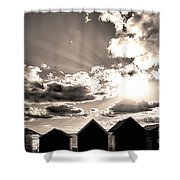 Beach Huts In Black And White Shower Curtain