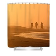 Beach Landscape Silhouetted Sunrise Walkers Nc Shower Curtain