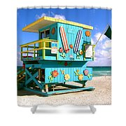 Beach Life In Miami Beach Shower Curtain