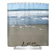 Beach Love Shower Curtain by Linda Woods