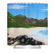 Beach On Helicopter Island Shower Curtain