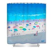 Beach Painting - Happy Days Shower Curtain