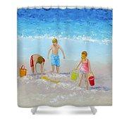 Beach Painting - Sandcastles Shower Curtain