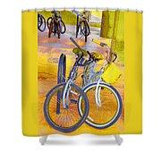 Beach Parking For Bikes Shower Curtain