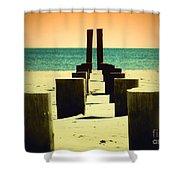 Beach Pylons Shower Curtain