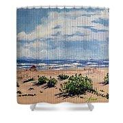 Beach Scene On Galveston Island Shower Curtain