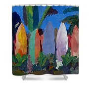 Beach Scene With Wall Of Surf Boards Hawaii I Shower Curtain