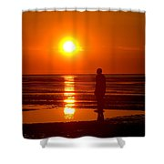 Beach Sculpture At Crosby Liverpool Uk Shower Curtain