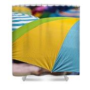 Beach Umbrella Rainbow 1 Shower Curtain